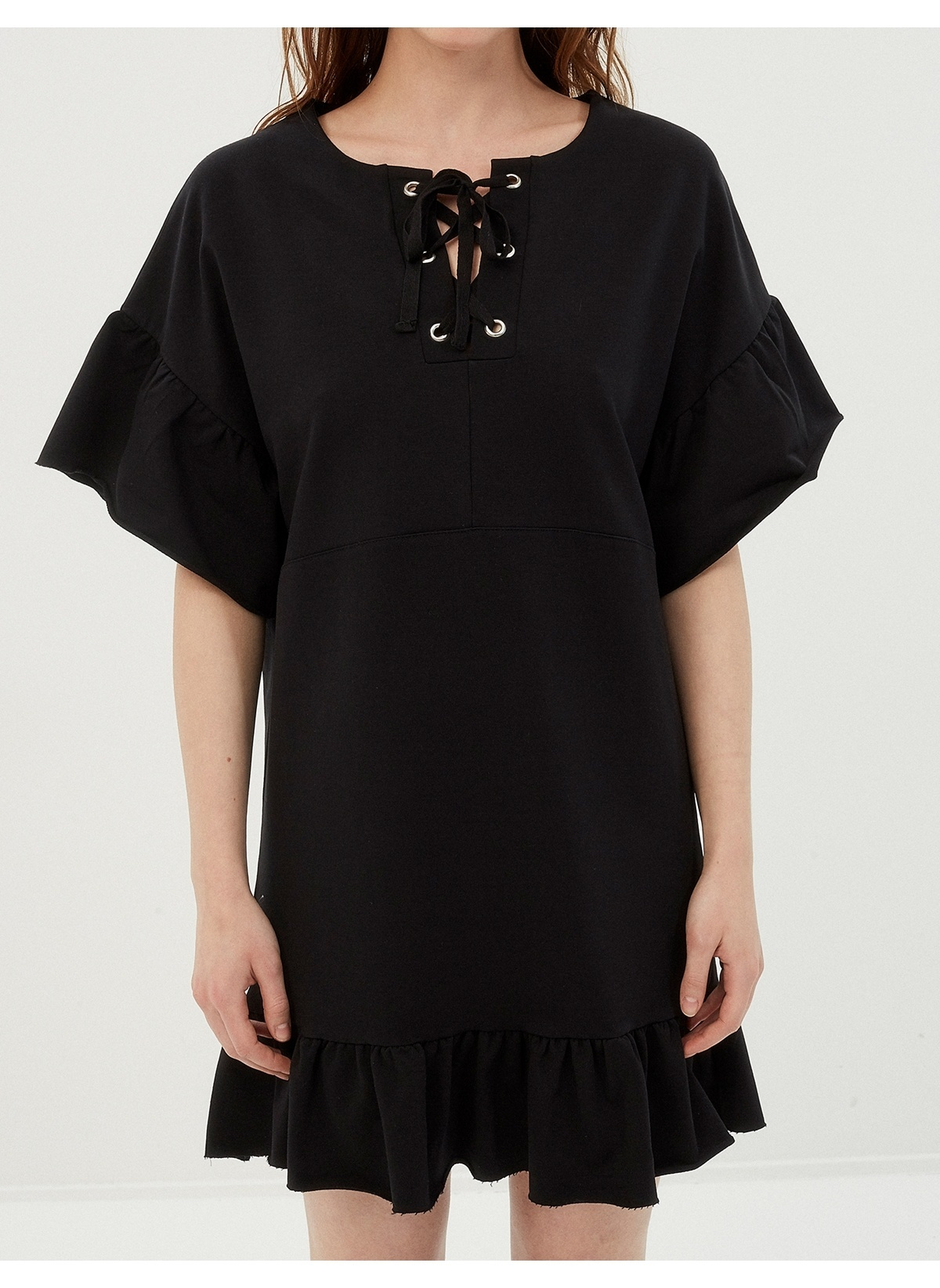 4c525d036a014 Koton Kadın Volanlı Yarasa Kol Elbise Black | Morhipo | 20025777
